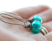 Teal Earrings, Teal Artisan Glass and Gunmetal - Evergreen