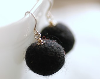 Felted Bead Earrings, Black Earrings, Wool Earrings, Whimsical Earrings, Fun Jewelry, Sterling Silver, Funky Earrings, Textured Earrings