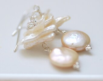Blush Pink Pearl Earrings, Wedding Jewelry, Romantic Earrings, Beachy Jewelry, Coin Pearl Earrings, Sterling Silver - Windswept