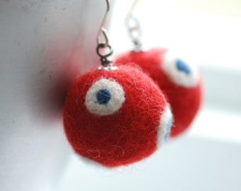 Red Felted Earrings, Red White and Blue, Patriotic Jewelry, Felted Bead Earrings, Fibre Jewelry, Merino Wool Earrings, July 4th - Funky Dots