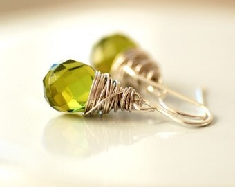 Green Glass Earrings, Leaf Green Glass and Wrapped Sterling Silver, Wire Wrapped Dangle Earrings, Spring Green Earrings - Awakening
