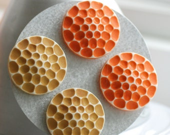 Magnets, Honeycomb, Fridge Magnets, Fun Magnets, Teacher Gift, Bee Lover, Orange and Honey Gold Textured Vintage Lucite, Set of 4