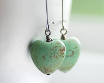 Mint Green Heart Earrings, Pastel Jewelry, Seafoam Green, Dangle Earrings, Cottage Wedding, Valentine, Stone Hearts and Gunmetal - Softly