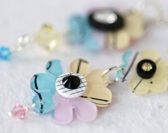Flower Earrings, Blue Pink Daisies, Groovy Earrings, Hippie Jewelry, Statement Earrings,  Funky Flowers and Sterling Silver - Flower Child