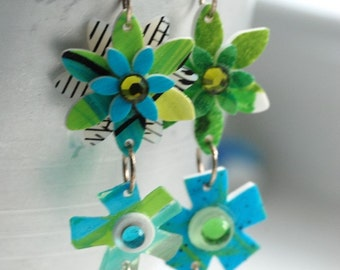 Flower Earrings, Groovy Earrings, Hippie Jewelry, 1970's Inspired, Green and Blue Handpainted Flowers and Sterling Silver - Flower Child