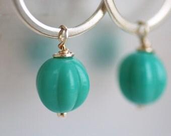 Teal Earrings, Small Dangle Earrings, Lightweight Earrings, Simple Jewelry, Dark Seafoam, Glass Melons