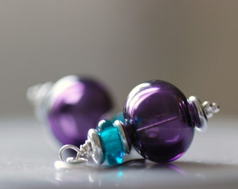 Purple Earrings, Non Traditional Wedding, Summerhouse, Cottage Chic, Purple and Teal, Cottage Wedding, Romantic Jewelry - Wisteria
