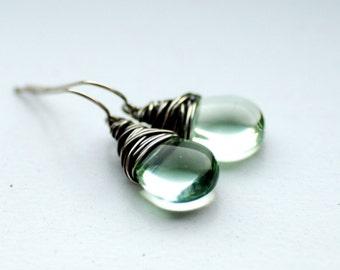 Sage Green Earrings, Winter Jewelry, Wintergreen, Pale Mint Green Earrings, Pastel Wedding, Oxidized Sterling Silver, Romantic Jewelry