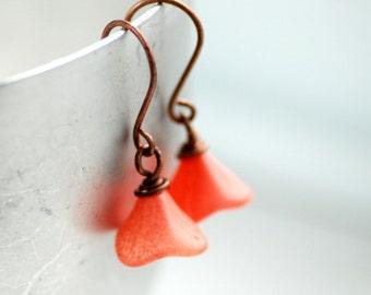 Coral Earrings, Salmon Earrings, Flower Earrings, Garden Wedding, Rosy Copper Earrings, Outdoor Wedding, Simple Bridesmaid Earrings, Posies