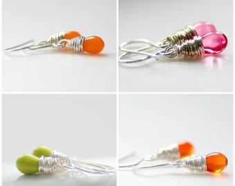 Flower Girl Earrings, Dainty Earrings, Little Girl Earrings, Wedding Jewelry Under 25, Bright Glass Earrings with Sterling Silver
