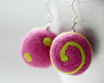 Pink Green Felted Wool Earrings, Felted Bead Earrings, Dots and Swirls Funky Geometric Merino Wool on Sterling Silver - Funky Dots