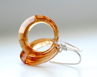 Topaz Lucite Earrings, Hoop Earrings, Amber Vintage Lucite Hoops and Sterling Silver, Elegant Hoops, Lucite Earrings