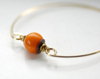 Bangle Bracelet, Stacking Bracelet, Brass Bangle, Tribal Bracelet, Modern Minimalist Jewelry, Pumpkin Orange, Autumn Jewelry