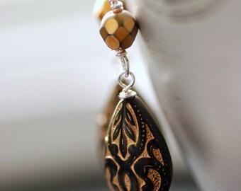 Ornate Earrings, Black and Gold Earrings, Teardrop Earrings, Elegant Jewelry, Acrylic and Sterling Silver - gilt