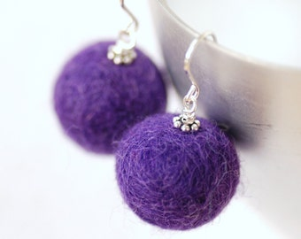 Purple Felted Bead Earrings, Felted Merino Wool, Fibre Jewelry, Statement Earrings, Funky Earrings, Sterling Silver - Fuzzy Sweater