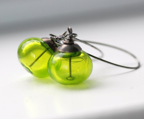Handmade Earrings, Lime Green Artisan Blown Glass and Gunmetal, Limelight