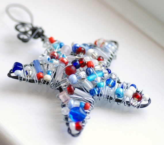 Star Ornament, Red, White and Blue Patriotic Beaded Star, Decoration or Suncatcher - Stars and Stripes