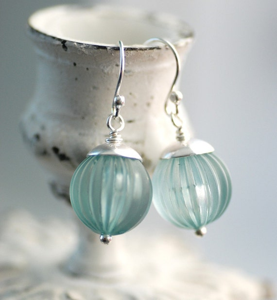 Light Blue Earrings, Bridesmaid Earrings, Pastel Jewelry, Lucite Earrings, Sterling Silver, Blue Wedding - Something Blue