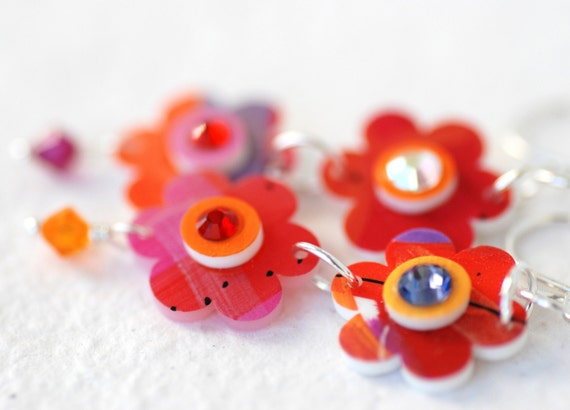 Flower Earrings Groovy Red Colorful Handpainted Flowers and Sterling Silver - Flower Child