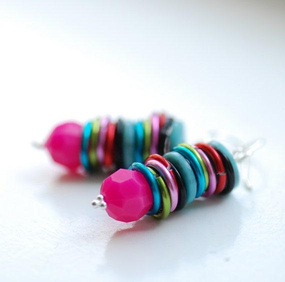 Statement Earrings, Fuchsia Earrings, Lucite Earrings, Funky Jewelry, Fun Earrings, Sterling Silver - Change