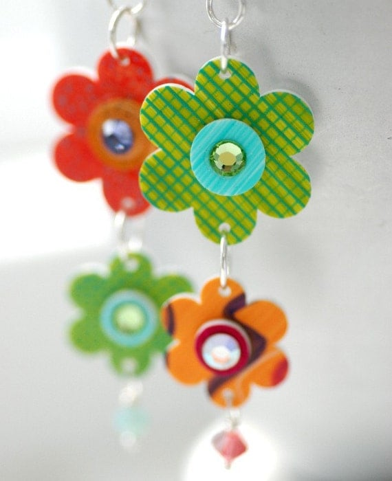 Flower Earrings, Orange and Green Handpainted Plexiglass Flowers and Sterling Silver - Flower Child