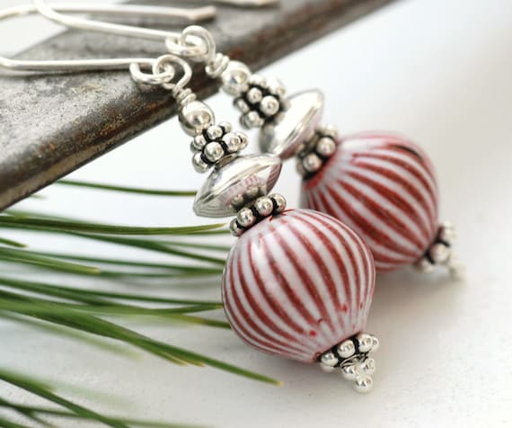 Red and White Earrings, Peppermint Striped Enamel and Sterling Silver - Ye Olde Candy Shoppe