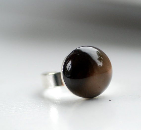 Chocolate Brown Ring, Lucite Jewelry, Sterling Silver Plated Adjustable Ring, Cocktail Ring, Mod Ring, Funky Ring