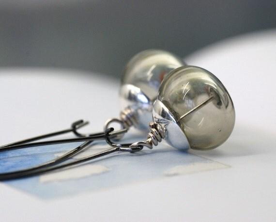 Glass Earrings, Grey Earrings, Hollow Glass Earrings, Dangle Earrings, Neutrals, Everyday Earrings - Rain