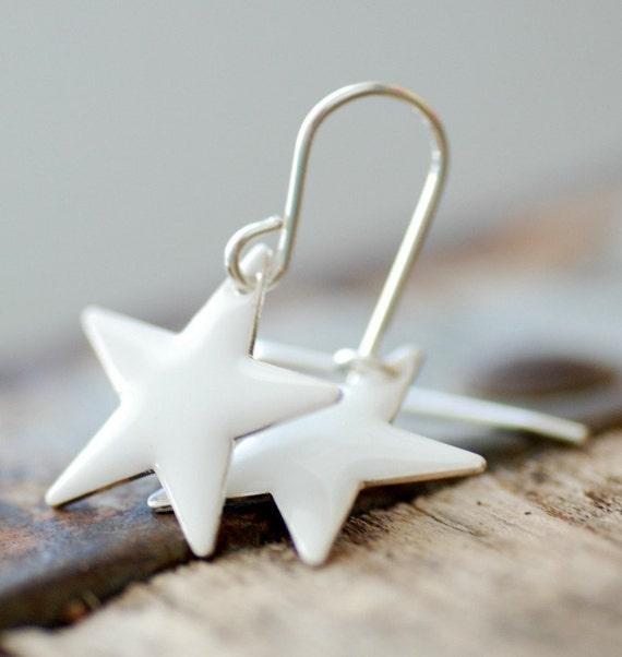 White Earrings, Star Earrings, Enameled Earrings, Creamy White, Sterling Silver, Preppy Earrings, Simple Earrings, Patriotic Stars