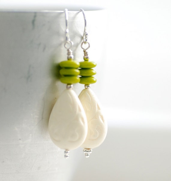 Chartreuse Green and White Earrings, Summer Jewelry, Acrylic Teardrops, Vintage Lucite and Sterling Silver - Sprout