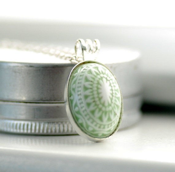 Scandinavian Necklace, Pendant Necklace, Pastel Jewelry, Sage Green and White, Lucite Jewelry, Nordic,