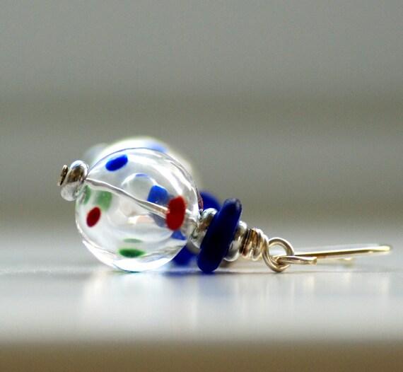 Glass Earrings, Polka Dot Blown Glass and Sterling Silver- Cinco de Mayo