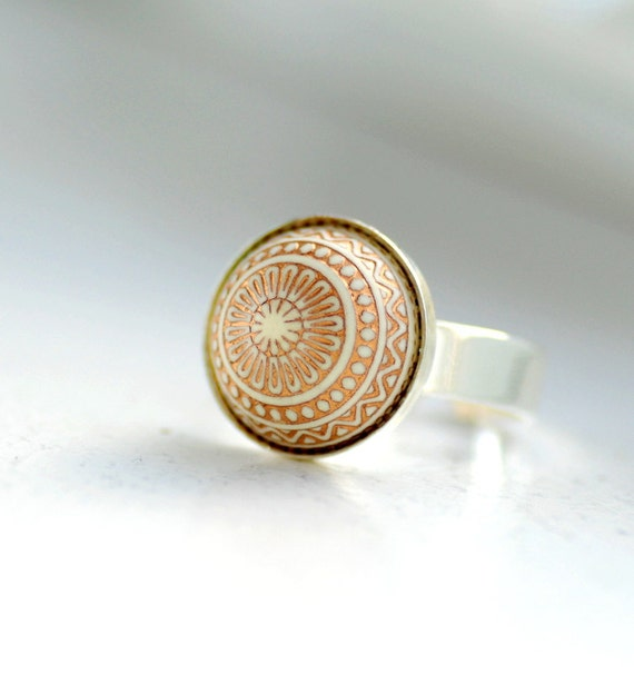 Adjustable Ring, Ivory and Gold Ring, Fun Cocktail Ring, Holiday Ring, Mosaic Pattern, Silver and Gold, Silver Plated, Scandinavian Style