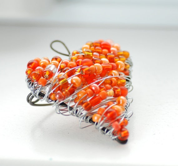 Tangerine Orange Brooch, Wire Heart Brooch, Beaded Brooch, Wire Pin, Sterling Silver Clasp, Unique Valentine, Orange Valentine