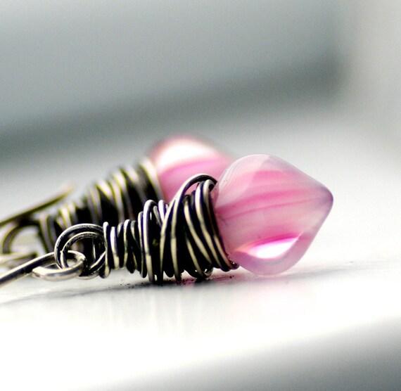 Bubblegum Pink Earrings, Pink Candy Stripe, Glass Earrings, Oxidized Sterling Silver, Small Dangle Earrings - Valentine