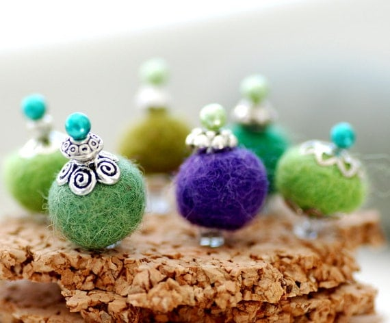 Felted Bead Corkboard Pushpins, Green and Purple Beaded Jewelry Display Pins - Wild Fuzzies