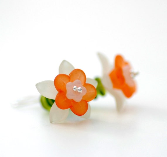 Orange Daffodil Earrings, Vintage Green Glass, Lucite Flowers and Sterling Silver, Spring Fashion Under 50 - Spring Fever