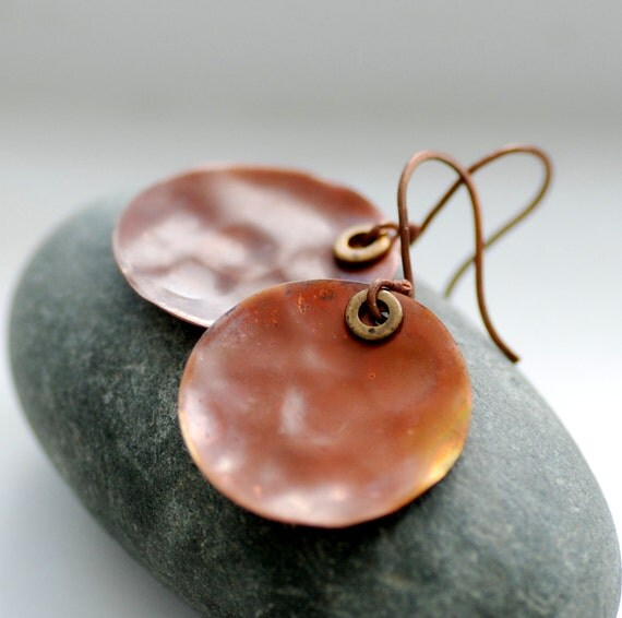 Copper Earrings, Hammered Copper Earrings, Circle Earrings, Geometric, Metalwork Earrings, Heat Treated Copper - Calypso