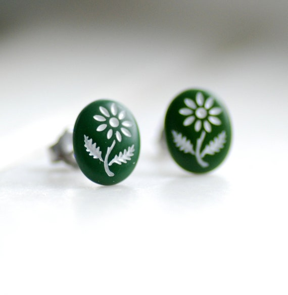 Stud Post Earrings, Tiny Olive Green with White Daisies on Vintage Glass Cabochons and Steel Posts