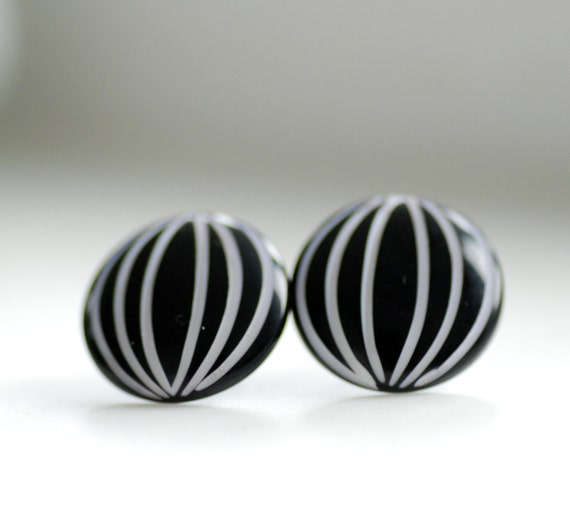 Stud Post Earrings, Black with White Stripe on Vintage Acrylic Cabochons and Steel Posts - Up, Up and Away