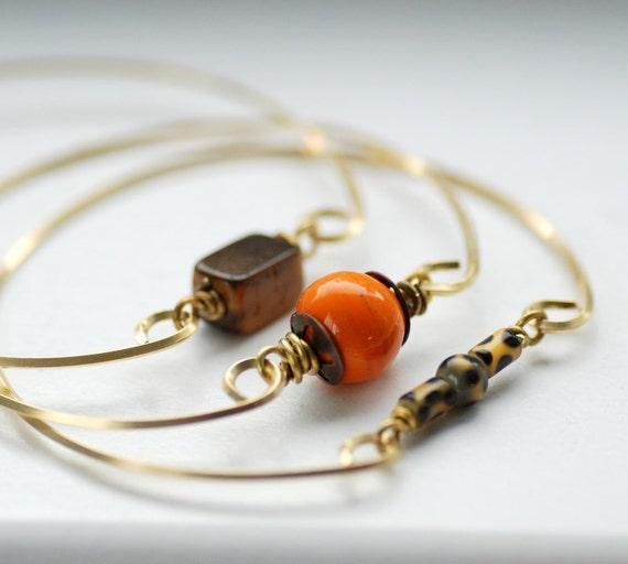 Simple Bangle Bracelets, Stacking Bracelets, Brass Bangles, Modern Minimalist Jewelry - Set of 3