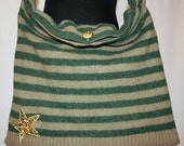 Harper - Upcycled Wool Sweater Bag - Striped Green and Khaki Brown with Vintage Gold Star Applique