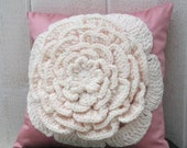 Rosebud Pillow  - White Crocheted Flower over Pink Fabric