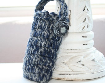 Bombshell Belle - Cell Phone Tote - Navy and Grey with grey vintage button