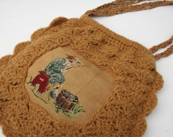Bombshell Belle - Opal - Harvest Gold Crocheted Handbag accented with Vintage Needlepoint  - Girl Fishing