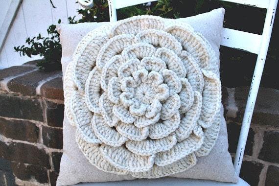 Sandstone - Crocheted Flower Pillow