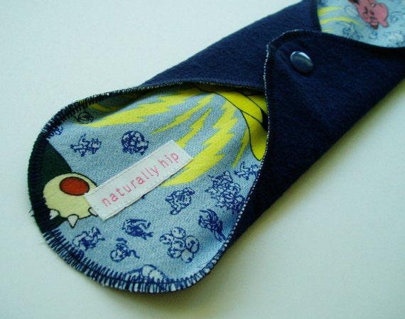 Flannel 10.5in Regular Cloth Menstrual Pad - Pokemon w\/ Navy Blue
