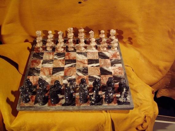 Red and Grey Granite Chess Set