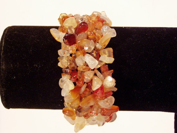 Lake Superior Agate & Quartz Chips Stretchy Bracelet  --  6 to 6 1/4 inch wrist  (up to 7 1/4)
