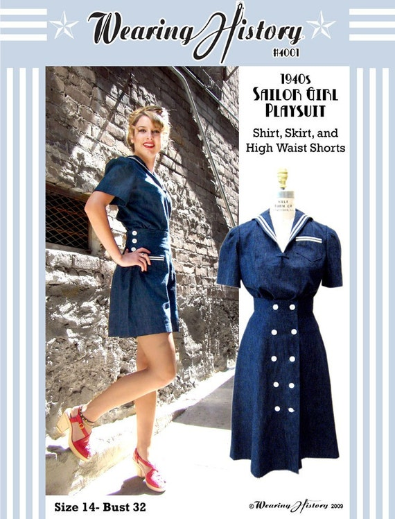 1940s Style Sailor Girl Pin Up Playsuit Pattern- Bust 32- Wearing History